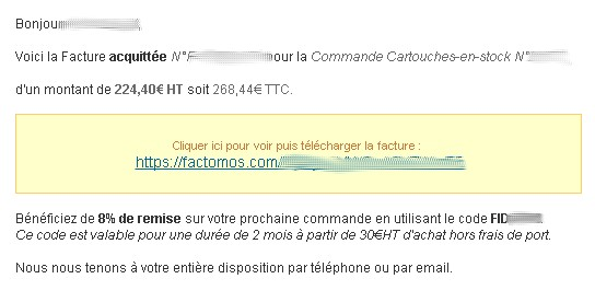 mail accompagnant la facture