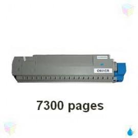 toner cyan pour imprimante Oki C801 équivalent 44643003