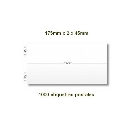 Boite de 1000 étiquettes postales 175 x (2x45) blanches