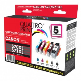 Pack Quattro Print PGI570XL CL571XL 5 cartouches compatibles Canon